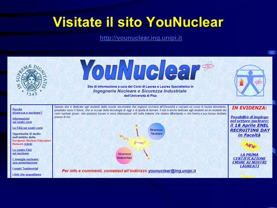 Visitate il sito YouNuclear http://younuclear.ing.unipi.it