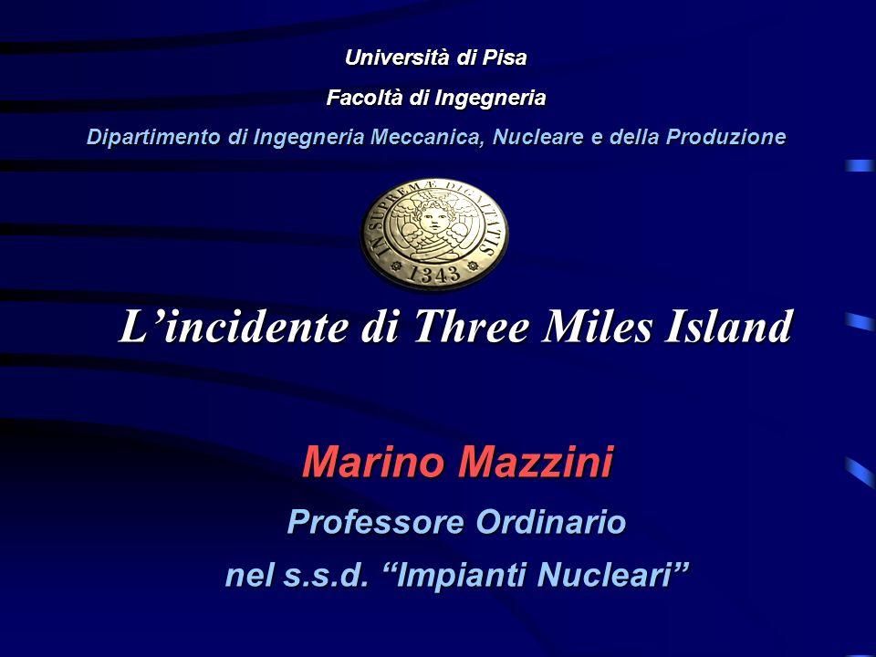 Lincidente di Three Miles Island Marino Mazzini Professore Ordinario nel s.s.d. Impianti Nucleari Università di Pisa Facoltà di Ingegneria Dipartiment