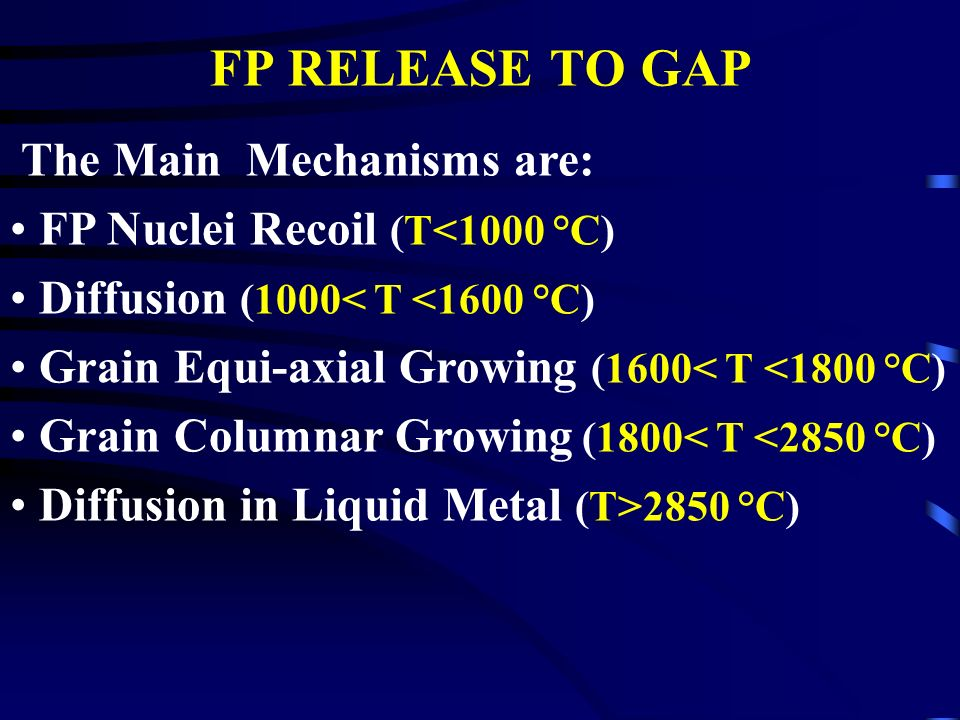 FP RELEASE TO GAP The Main Mechanisms are: FP Nuclei Recoil (T<1000 °C) Diffusion (1000< T <1600 °C) Grain Equi-axial Growing (1600< T <1800 °C) Grain Columnar Growing (1800< T <2850 °C) Diffusion in Liquid Metal (T>2850 °C)