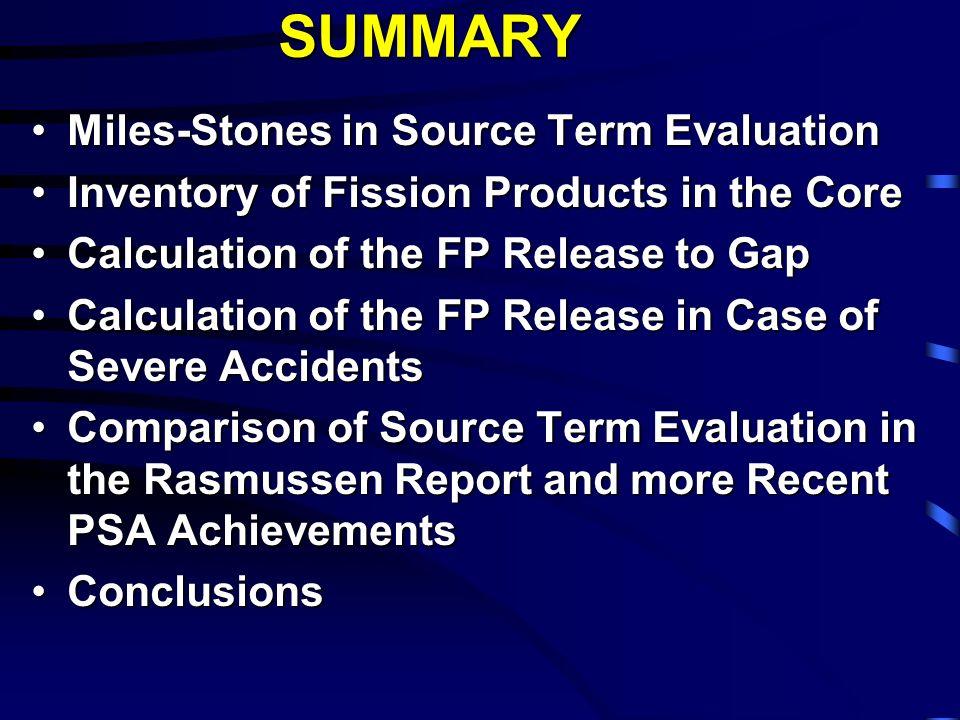 Conclusioni sul tema del Source Term Quasi tutti gli impianti nucleari di potenza attualmente in esercizio sono stati licenziati sulla base di un Source Term nominale, relativamente semplice.