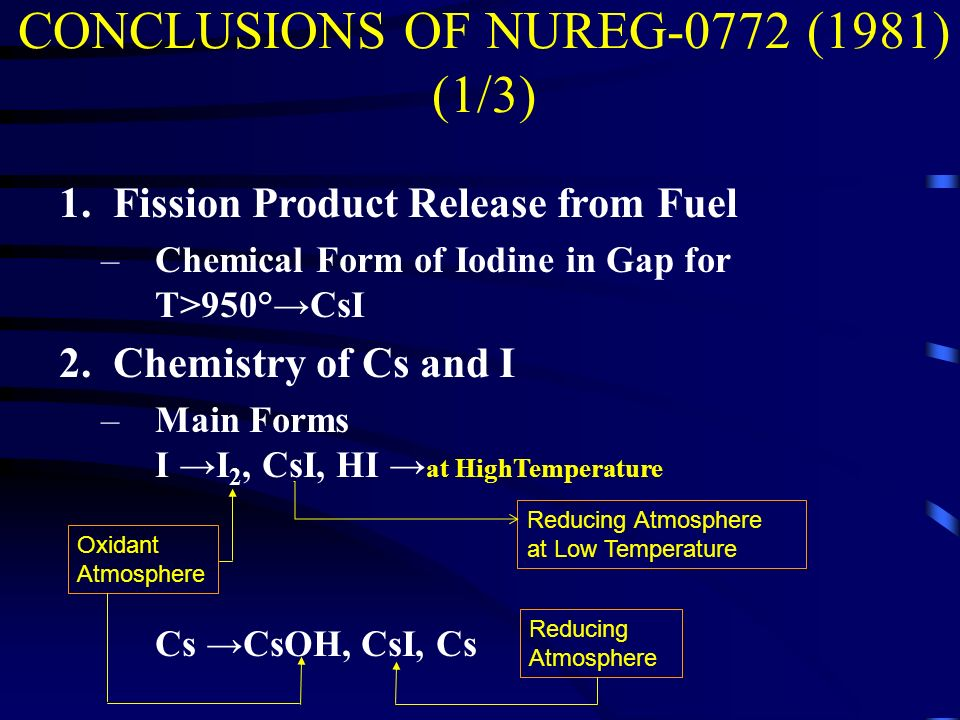 CONCLUSIONS OF NUREG-0772 (1981) (1/3) 1.Fission Product Release from Fuel –Chemical Form of Iodine in Gap for T>950°CsI 2.Chemistry of Cs and I –Main Forms I I 2, CsI, HI at HighTemperature Cs CsOH, CsI, Cs Reducing Atmosphere at Low Temperature Oxidant Atmosphere Reducing Atmosphere