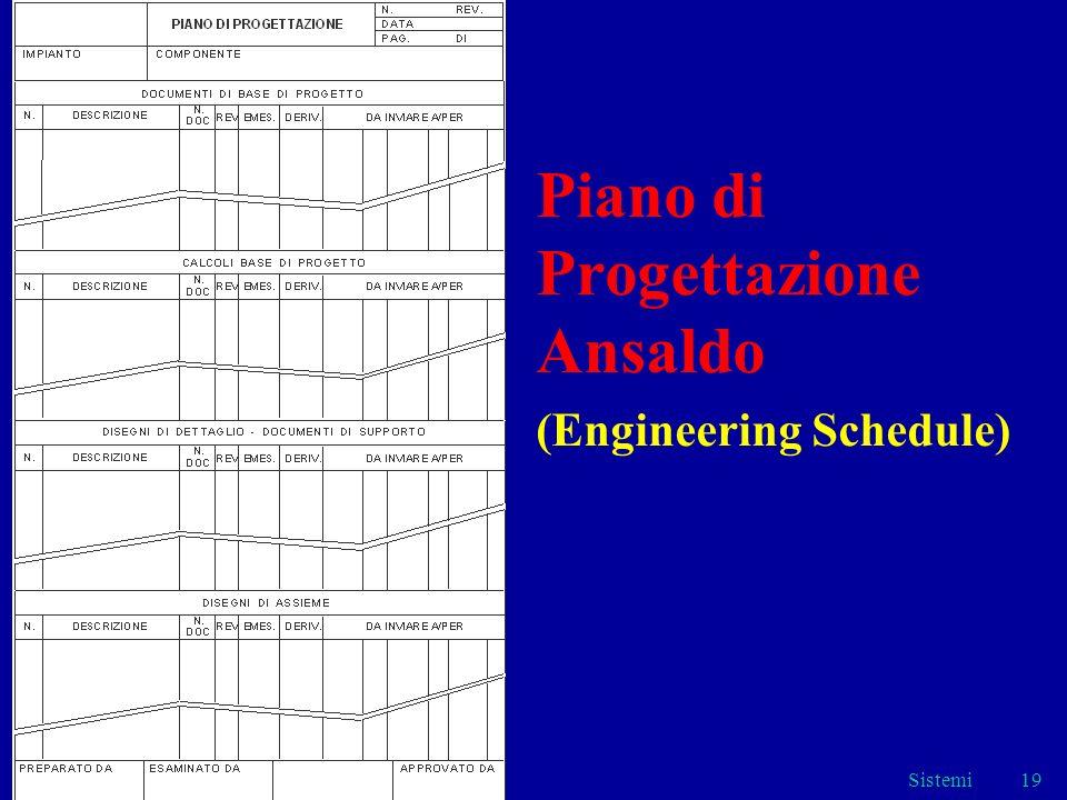 Sistemi19 Piano di Progettazione Ansaldo (Engineering Schedule)