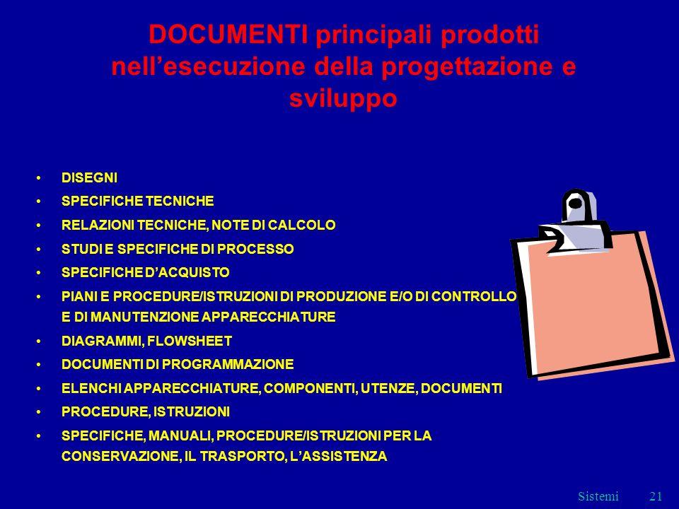 Sistemi21 DOCUMENTI principali prodotti nellesecuzione della progettazione e sviluppo DISEGNI SPECIFICHE TECNICHE RELAZIONI TECNICHE, NOTE DI CALCOLO