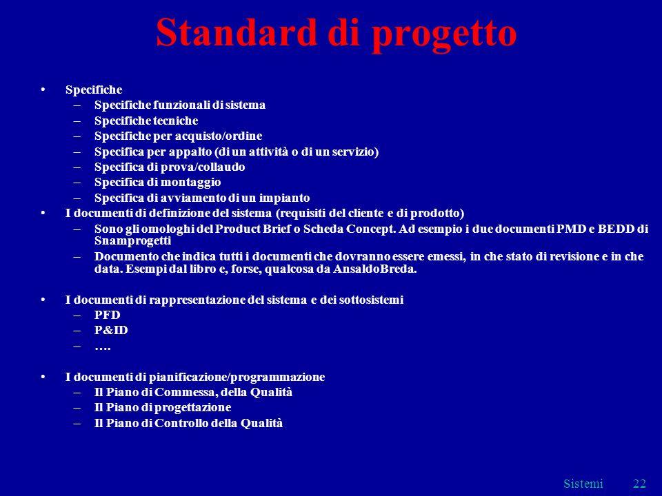 Sistemi22 Standard di progetto Specifiche –Specifiche funzionali di sistema –Specifiche tecniche –Specifiche per acquisto/ordine –Specifica per appalt