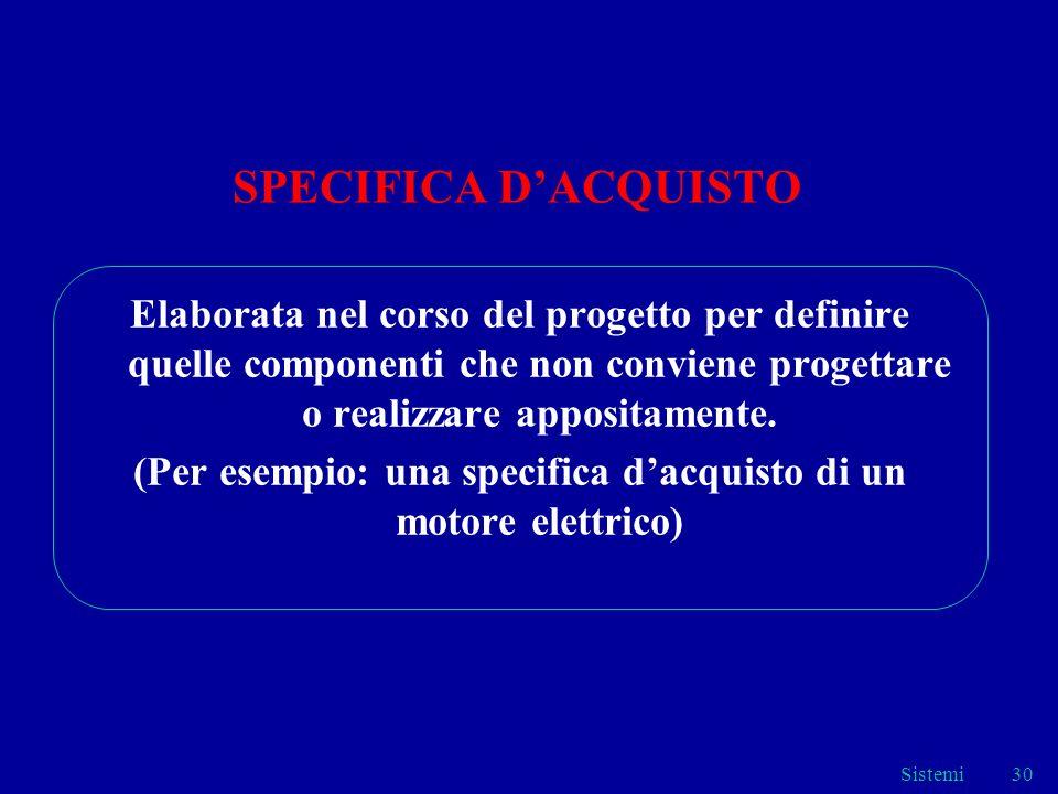 Sistemi30 SPECIFICA DACQUISTO Elaborata nel corso del progetto per definire quelle componenti che non conviene progettare o realizzare appositamente.