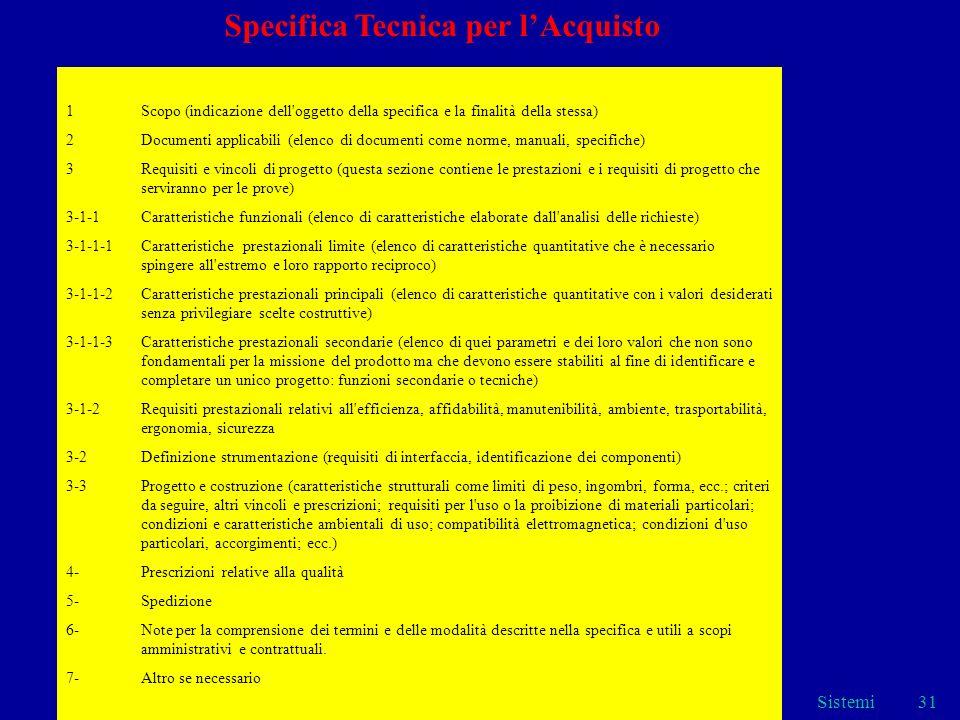 Sistemi31 1Scopo (indicazione dell'oggetto della specifica e la finalità della stessa) 2Documenti applicabili (elenco di documenti come norme, manuali