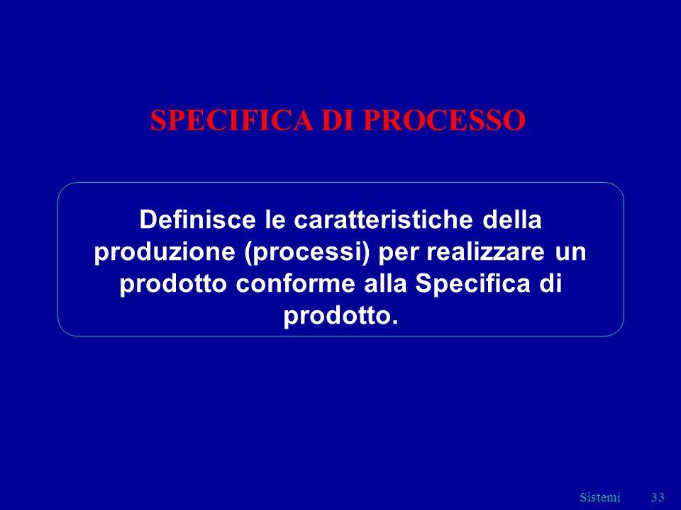 Sistemi33 SPECIFICA DI PROCESSO Definisce le caratteristiche della produzione (processi) per realizzare un prodotto conforme alla Specifica di prodott