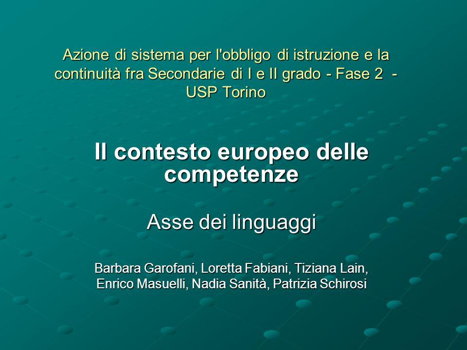 Il Contesto europeo Racc.del Parlamento e del Consiglio n.