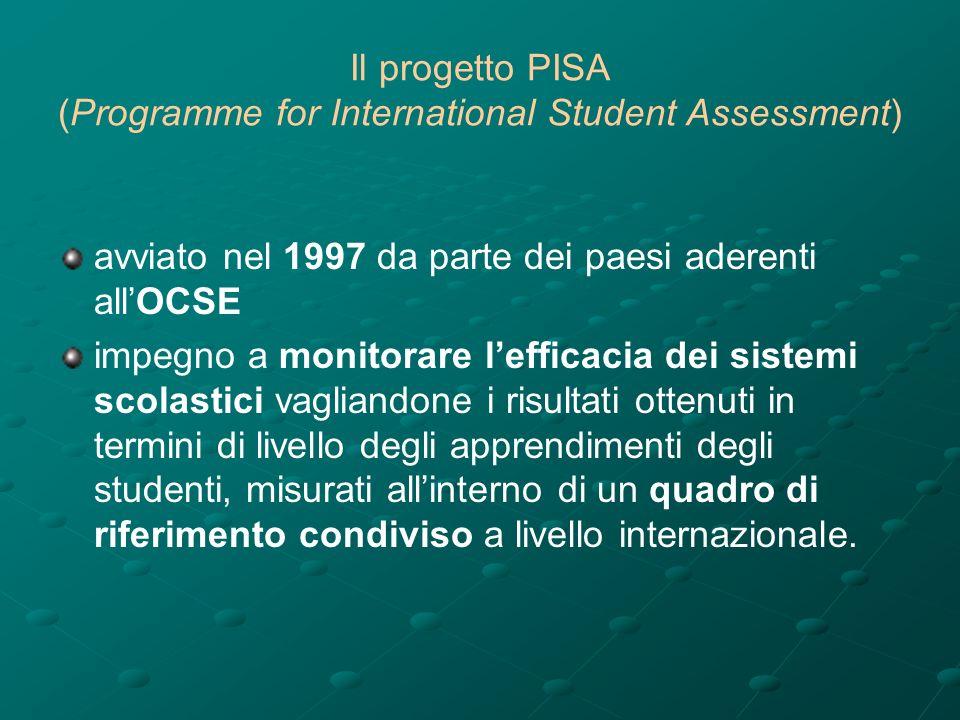 Il progetto PISA (Programme for International Student Assessment) avviato nel 1997 da parte dei paesi aderenti allOCSE impegno a monitorare lefficacia dei sistemi scolastici vagliandone i risultati ottenuti in termini di livello degli apprendimenti degli studenti, misurati allinterno di un quadro di riferimento condiviso a livello internazionale.