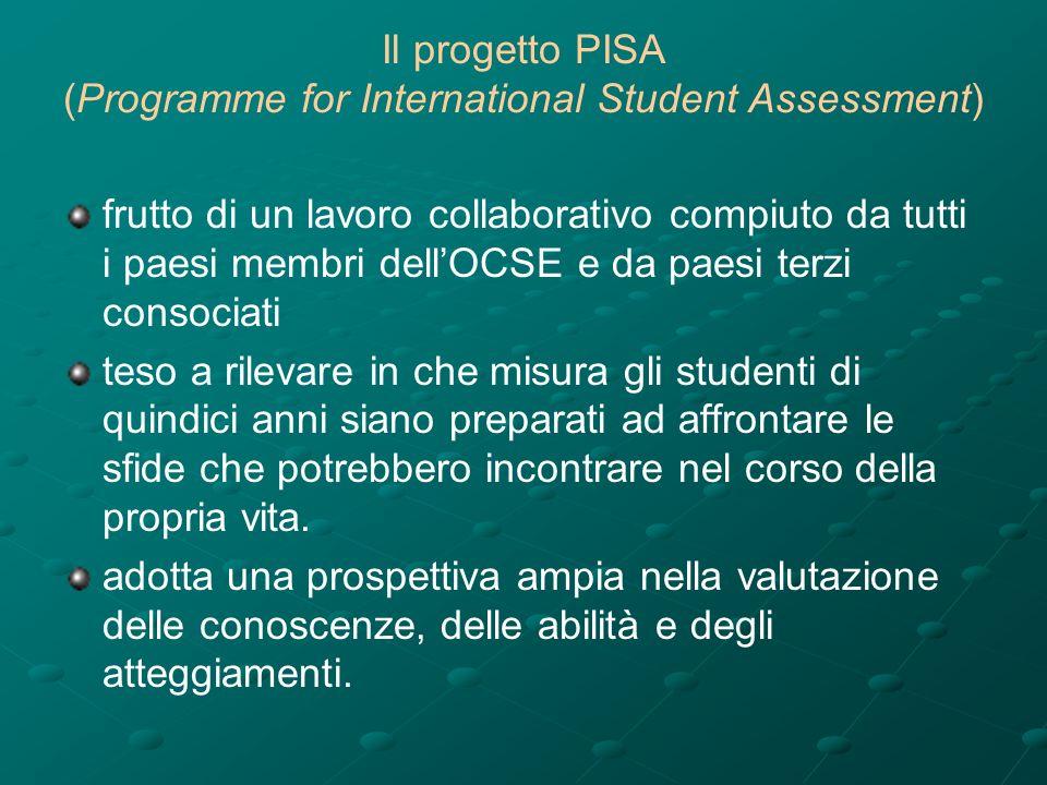 Il progetto PISA (Programme for International Student Assessment) frutto di un lavoro collaborativo compiuto da tutti i paesi membri dellOCSE e da paesi terzi consociati teso a rilevare in che misura gli studenti di quindici anni siano preparati ad affrontare le sfide che potrebbero incontrare nel corso della propria vita.