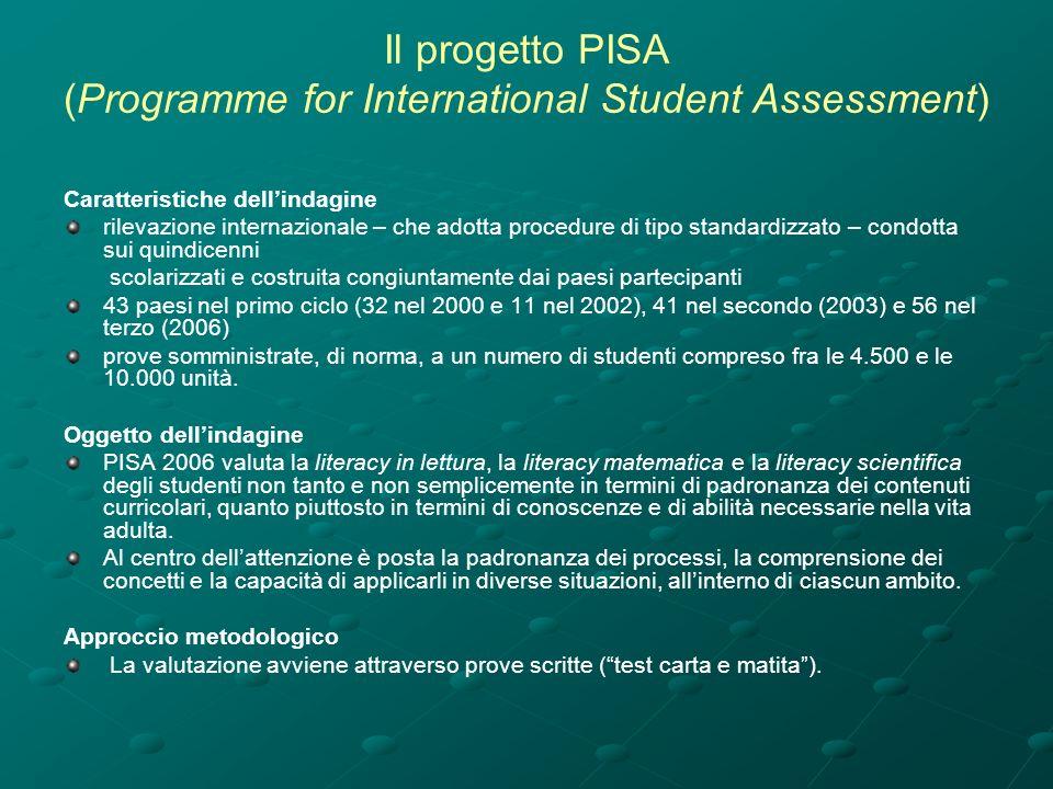 Il progetto PISA (Programme for International Student Assessment) Caratteristiche dellindagine rilevazione internazionale – che adotta procedure di tipo standardizzato – condotta sui quindicenni scolarizzati e costruita congiuntamente dai paesi partecipanti 43 paesi nel primo ciclo (32 nel 2000 e 11 nel 2002), 41 nel secondo (2003) e 56 nel terzo (2006) prove somministrate, di norma, a un numero di studenti compreso fra le 4.500 e le 10.000 unità.