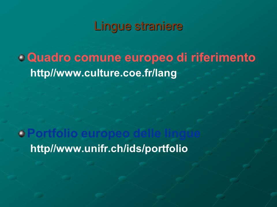 Lingue straniere Quadro comune europeo di riferimento http//www.culture.coe.fr/lang Portfolio europeo delle lingue http//www.unifr.ch/ids/portfolio