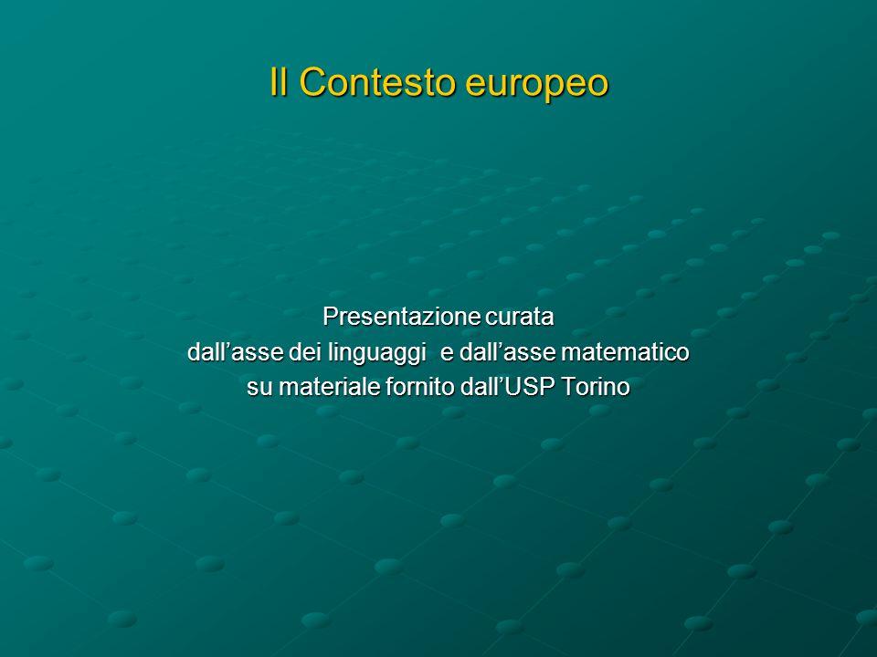 Il Contesto europeo Presentazione curata dallasse dei linguaggi e dallasse matematico su materiale fornito dallUSP Torino