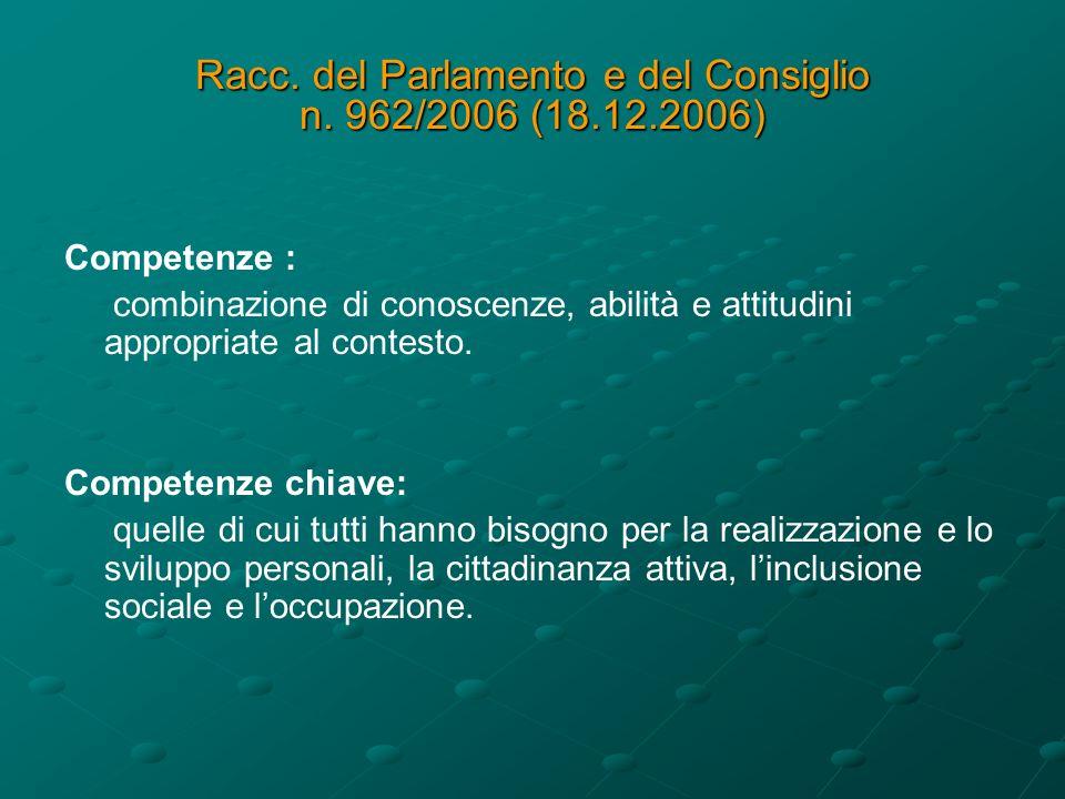 Racc.del Parlamento e del Consiglio n. 962/2006 (18.12.2006) otto competenze chiave: 1.
