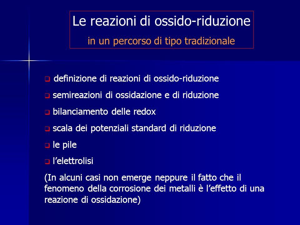 Le reazioni di ossido-riduzione in un percorso di tipo tradizionale definizione di reazioni di ossido-riduzione semireazioni di ossidazione e di riduz