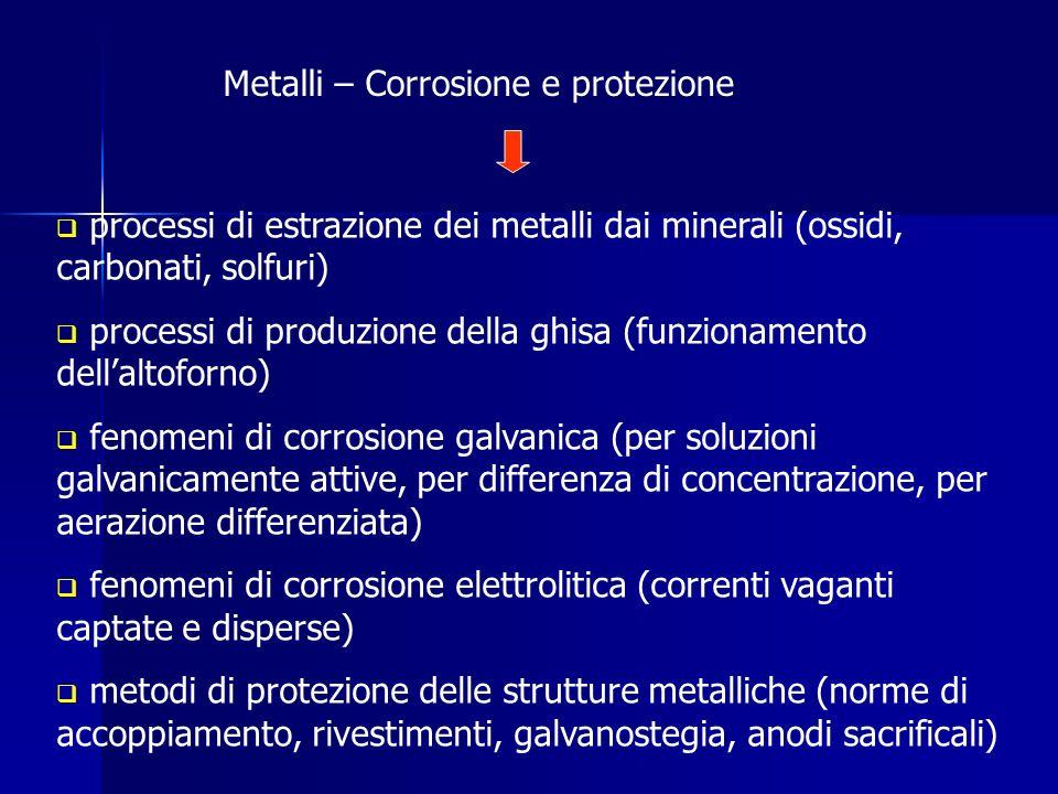 processi di estrazione dei metalli dai minerali (ossidi, carbonati, solfuri) processi di produzione della ghisa (funzionamento dellaltoforno) fenomeni