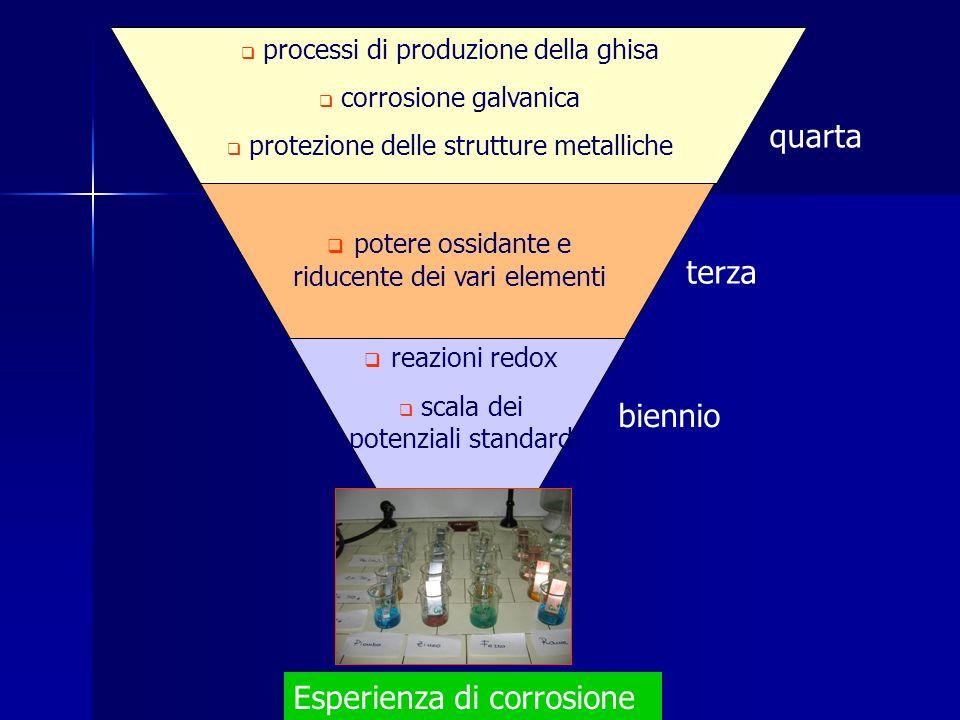 Esperienza di corrosione processi di produzione della ghisa corrosione galvanica protezione delle strutture metalliche potere ossidante e riducente de