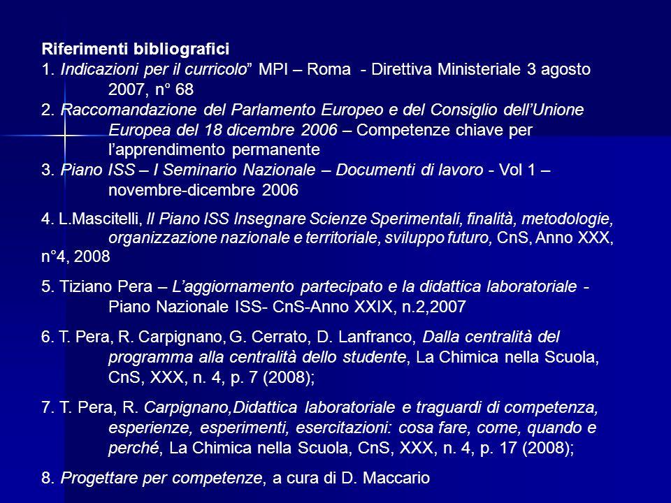 Riferimenti bibliografici 1. Indicazioni per il curricolo MPI – Roma - Direttiva Ministeriale 3 agosto 2007, n° 68 2. Raccomandazione del Parlamento E