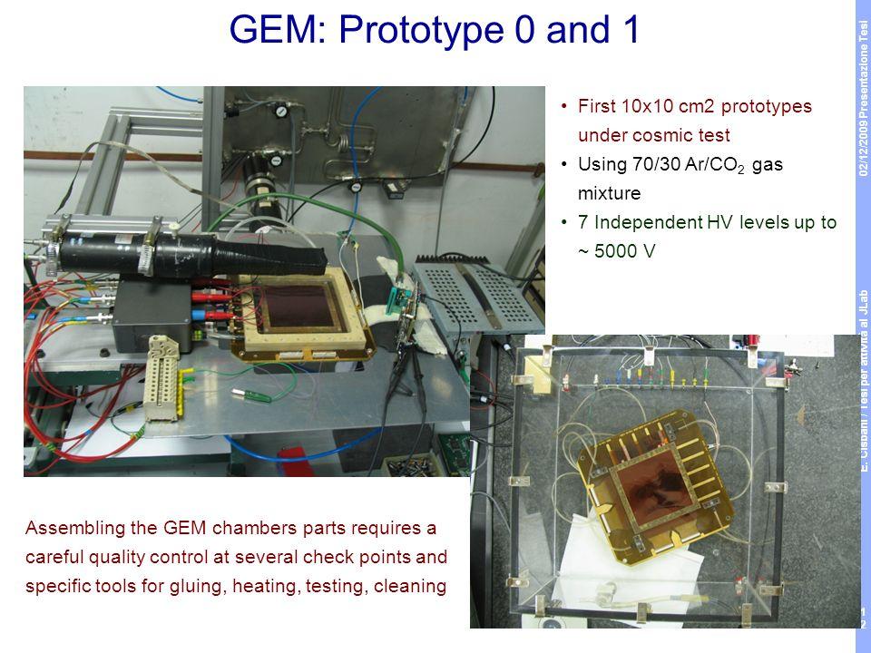 02/12/2009 Presentazione Tesi E. Cisbani / Tesi per attività al JLab 12 GEM: Prototype 0 and 1 First 10x10 cm2 prototypes under cosmic test Using 70/3