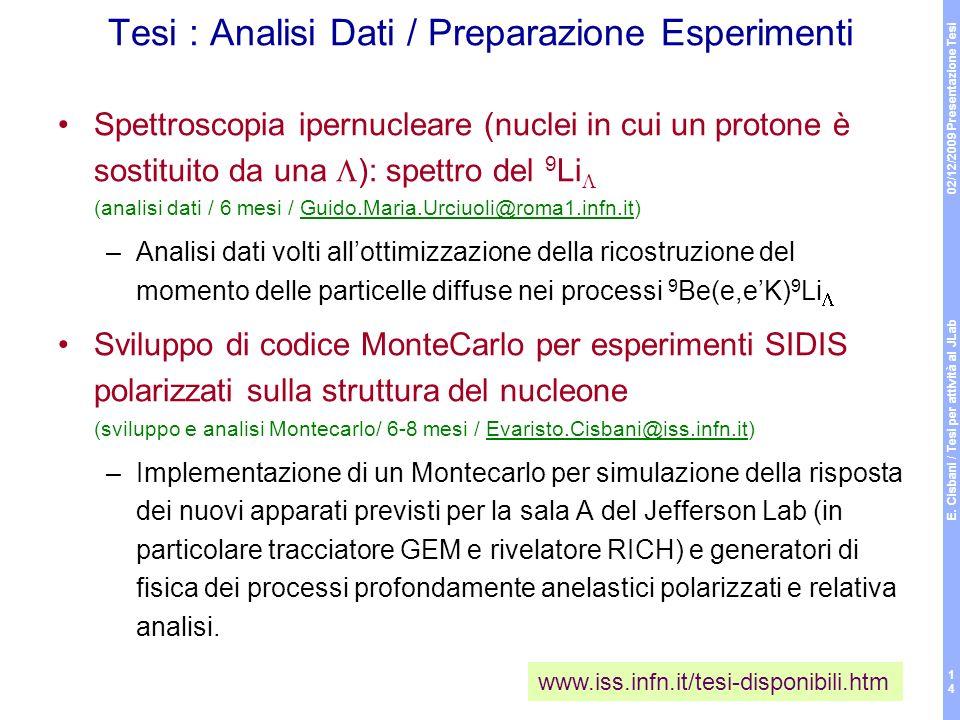 02/12/2009 Presentazione Tesi E. Cisbani / Tesi per attività al JLab 14 Tesi : Analisi Dati / Preparazione Esperimenti Spettroscopia ipernucleare (nuc