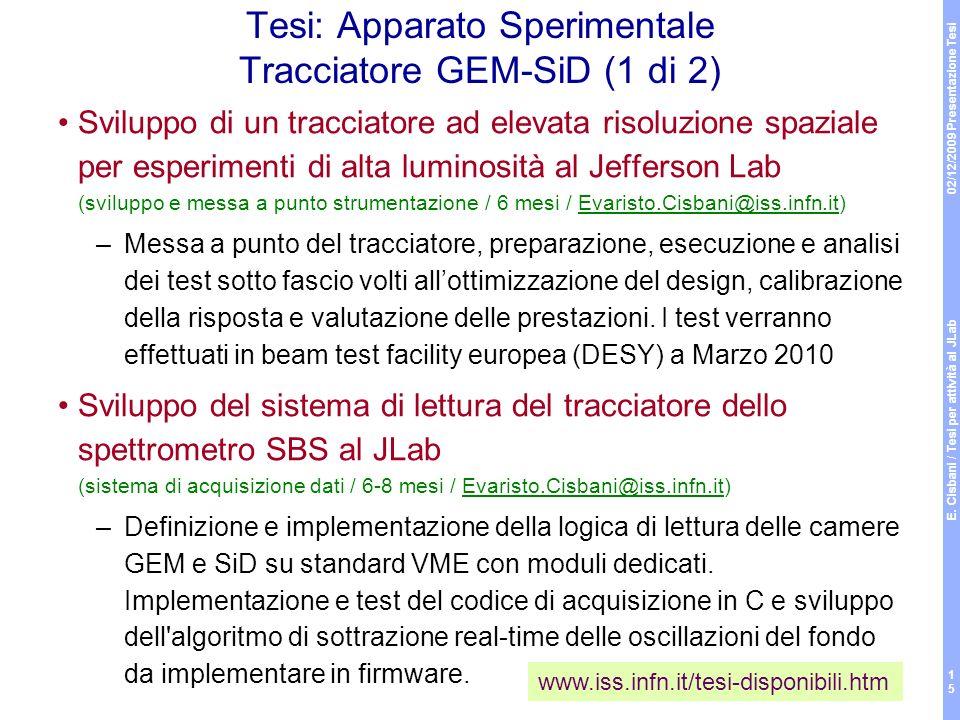 02/12/2009 Presentazione Tesi E. Cisbani / Tesi per attività al JLab 15 Tesi: Apparato Sperimentale Tracciatore GEM-SiD (1 di 2) Sviluppo di un tracci