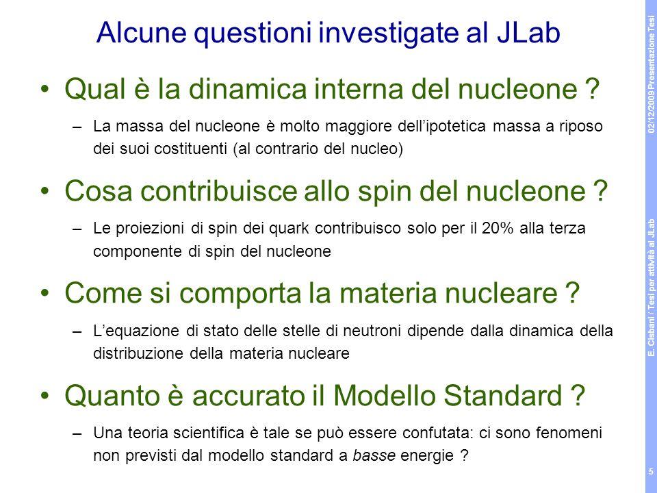 02/12/2009 Presentazione Tesi E. Cisbani / Tesi per attività al JLab 5 Alcune questioni investigate al JLab Qual è la dinamica interna del nucleone ?