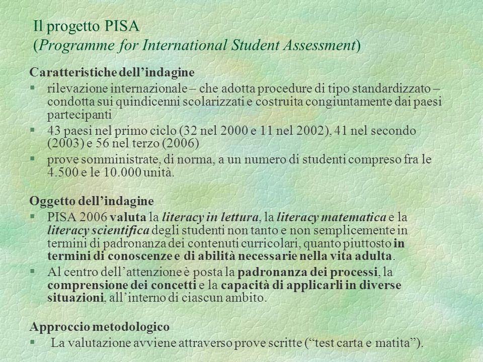 Il progetto PISA (Programme for International Student Assessment) Caratteristiche dellindagine §rilevazione internazionale – che adotta procedure di tipo standardizzato – condotta sui quindicenni scolarizzati e costruita congiuntamente dai paesi partecipanti §43 paesi nel primo ciclo (32 nel 2000 e 11 nel 2002), 41 nel secondo (2003) e 56 nel terzo (2006) §prove somministrate, di norma, a un numero di studenti compreso fra le 4.500 e le 10.000 unità.