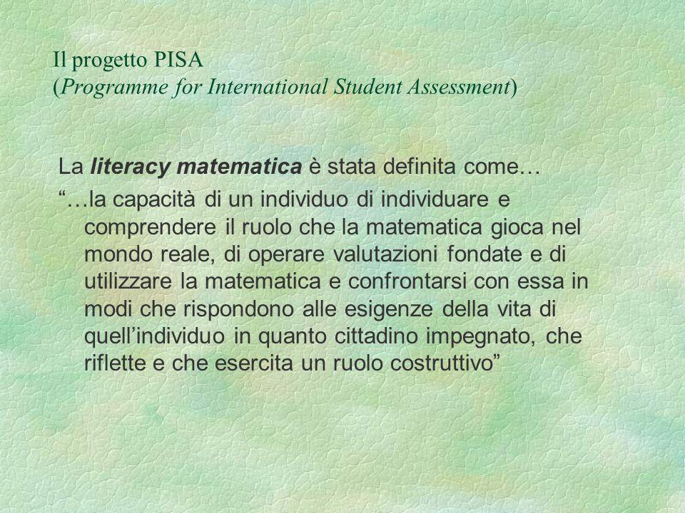 Il progetto PISA (Programme for International Student Assessment) La literacy matematica è stata definita come… …la capacità di un individuo di individuare e comprendere il ruolo che la matematica gioca nel mondo reale, di operare valutazioni fondate e di utilizzare la matematica e confrontarsi con essa in modi che rispondono alle esigenze della vita di quellindividuo in quanto cittadino impegnato, che riflette e che esercita un ruolo costruttivo
