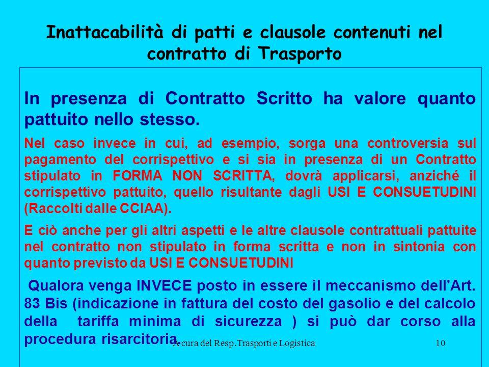 A cura del Resp.Trasporti e Logistica10 Inattacabilità di patti e clausole contenuti nel contratto di Trasporto In presenza di Contratto Scritto ha valore quanto pattuito nello stesso.