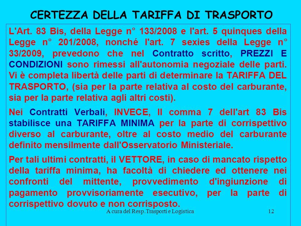 A cura del Resp.Trasporti e Logistica12 CERTEZZA DELLA TARIFFA DI TRASPORTO L Art.
