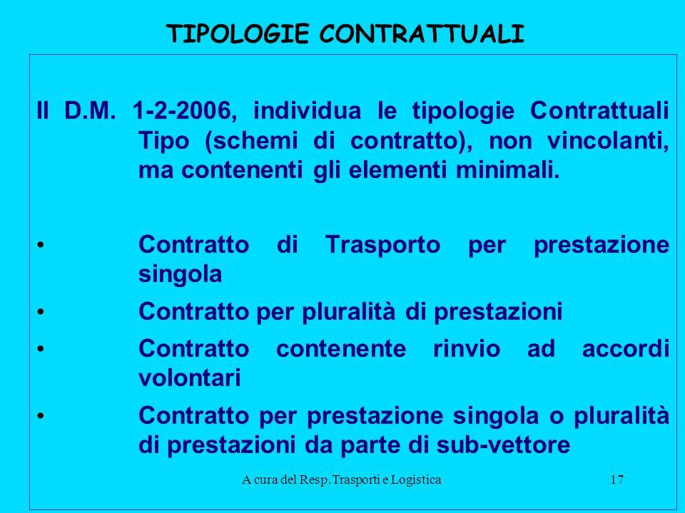 A cura del Resp.Trasporti e Logistica17 TIPOLOGIE CONTRATTUALI Il D.M.
