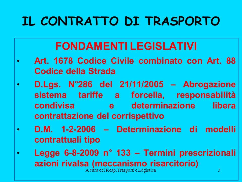 A cura del Resp.Trasporti e Logistica3 IL CONTRATTO DI TRASPORTO FONDAMENTI LEGISLATIVI Art.
