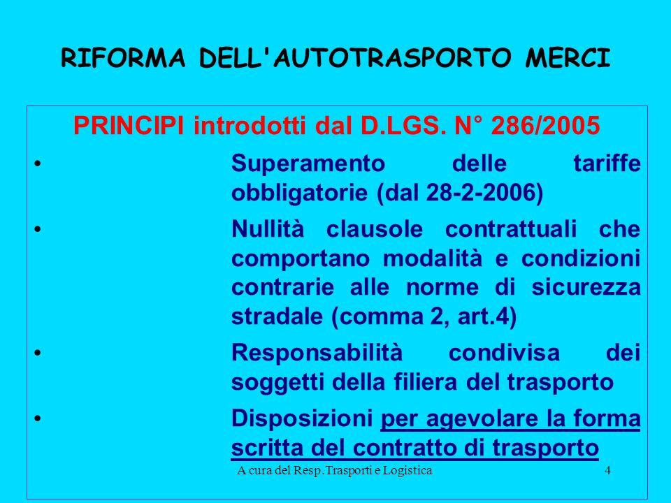 A cura del Resp.Trasporti e Logistica4 RIFORMA DELL AUTOTRASPORTO MERCI PRINCIPI introdotti dal D.LGS.