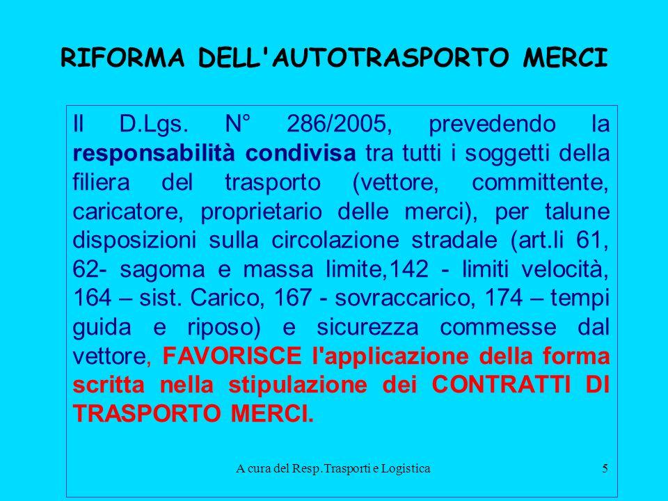 A cura del Resp.Trasporti e Logistica5 RIFORMA DELL AUTOTRASPORTO MERCI Il D.Lgs.