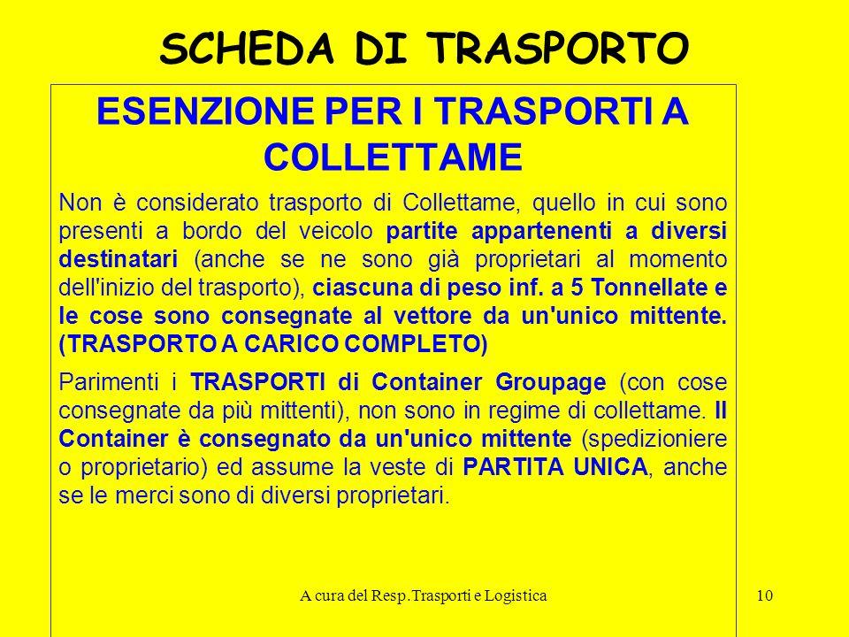 A cura del Resp.Trasporti e Logistica10 SCHEDA DI TRASPORTO ESENZIONE PER I TRASPORTI A COLLETTAME Non è considerato trasporto di Collettame, quello i