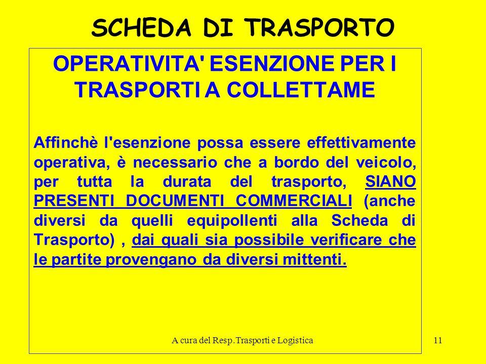 A cura del Resp.Trasporti e Logistica11 SCHEDA DI TRASPORTO OPERATIVITA' ESENZIONE PER I TRASPORTI A COLLETTAME Affinchè l'esenzione possa essere effe