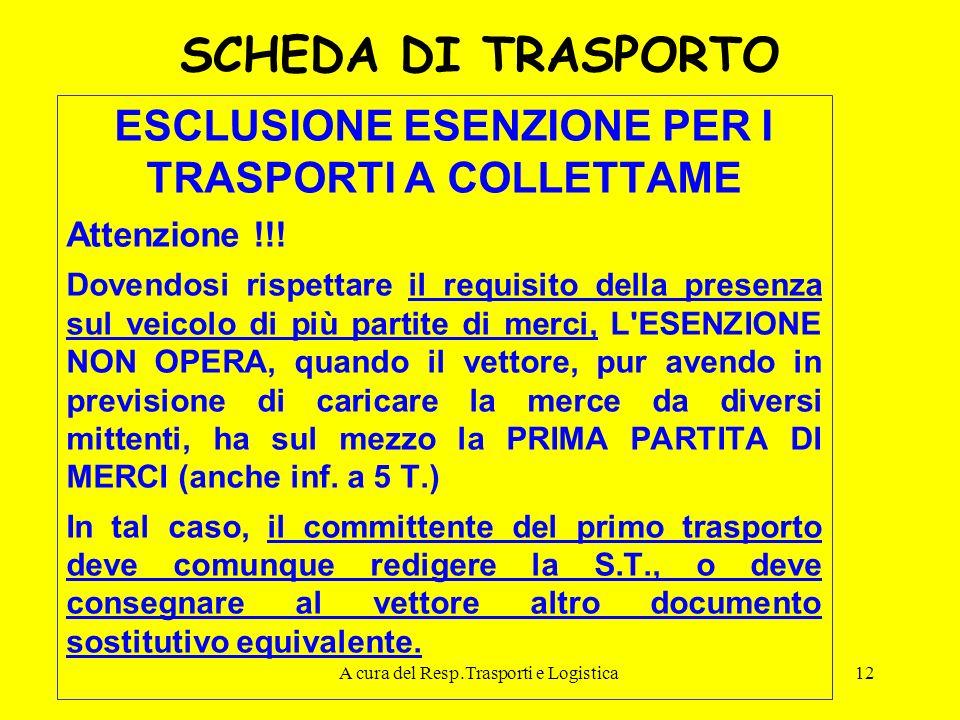 A cura del Resp.Trasporti e Logistica12 SCHEDA DI TRASPORTO ESCLUSIONE ESENZIONE PER I TRASPORTI A COLLETTAME Attenzione !!! Dovendosi rispettare il r