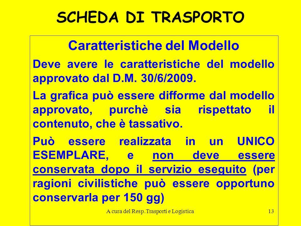 A cura del Resp.Trasporti e Logistica13 SCHEDA DI TRASPORTO Caratteristiche del Modello Deve avere le caratteristiche del modello approvato dal D.M. 3