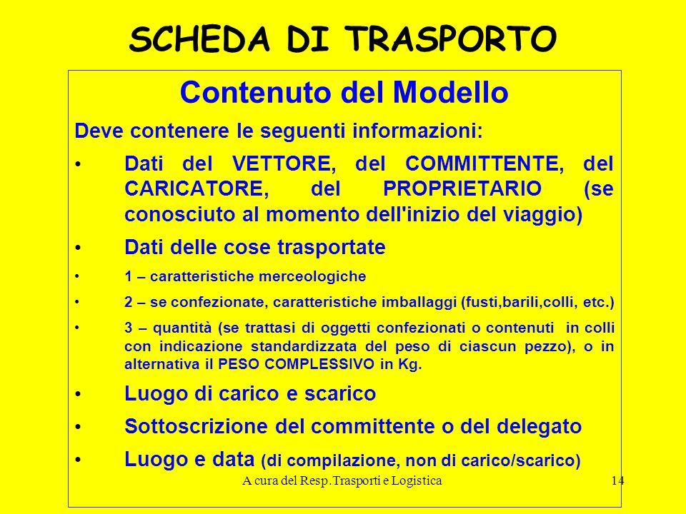 A cura del Resp.Trasporti e Logistica14 SCHEDA DI TRASPORTO Contenuto del Modello Deve contenere le seguenti informazioni: Dati del VETTORE, del COMMI