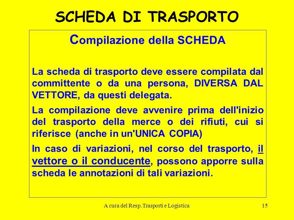 A cura del Resp.Trasporti e Logistica15 SCHEDA DI TRASPORTO C ompilazione della SCHEDA La scheda di trasporto deve essere compilata dal committente o