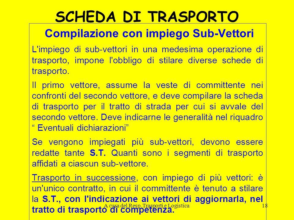 A cura del Resp.Trasporti e Logistica18 SCHEDA DI TRASPORTO Compilazione con impiego Sub-Vettori L'impiego di sub-vettori in una medesima operazione d