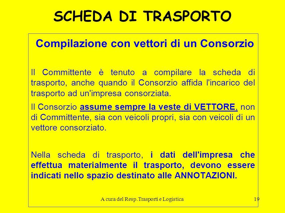 A cura del Resp.Trasporti e Logistica19 SCHEDA DI TRASPORTO Compilazione con vettori di un Consorzio Il Committente è tenuto a compilare la scheda di