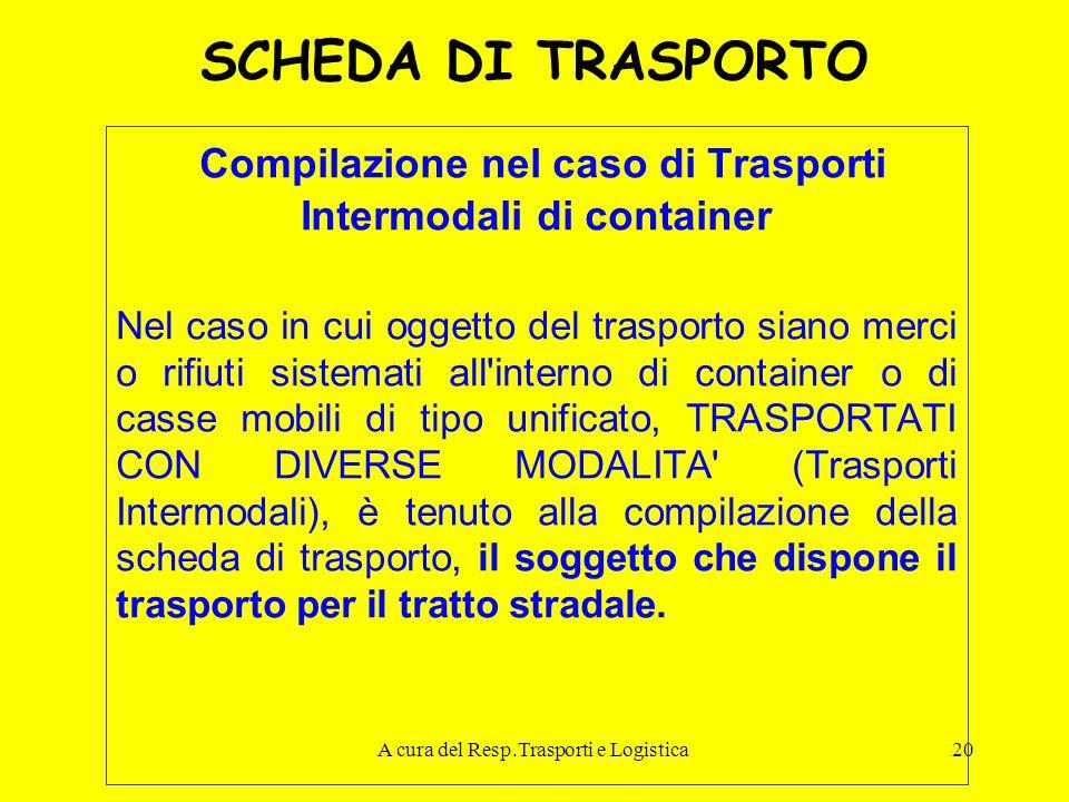 A cura del Resp.Trasporti e Logistica20 SCHEDA DI TRASPORTO Compilazione nel caso di Trasporti Intermodali di container Nel caso in cui oggetto del tr