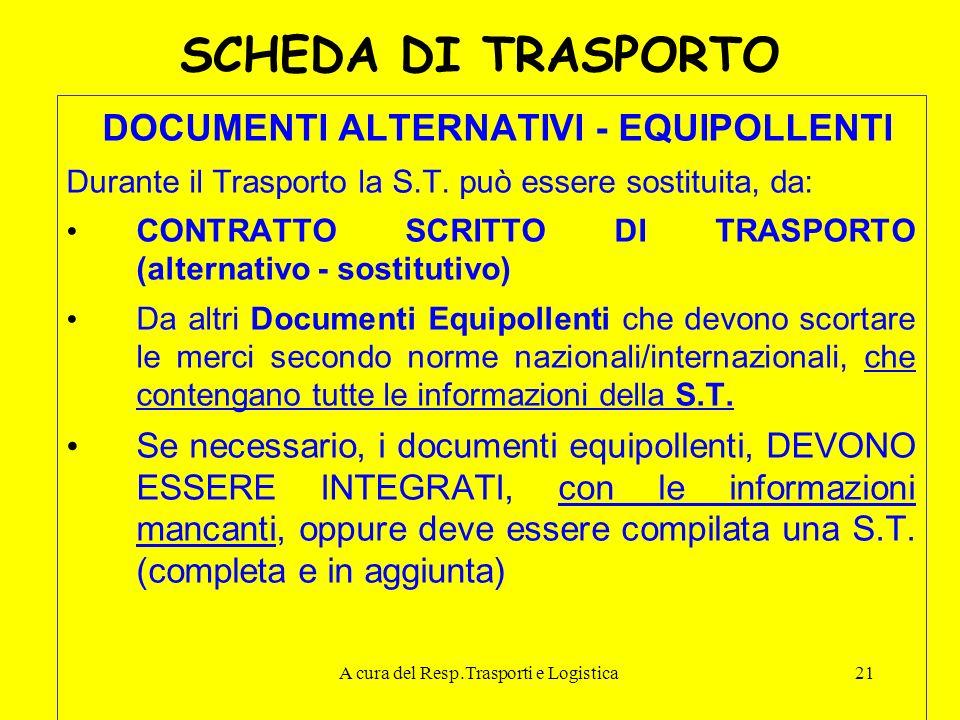 A cura del Resp.Trasporti e Logistica21 SCHEDA DI TRASPORTO DOCUMENTI ALTERNATIVI - EQUIPOLLENTI Durante il Trasporto la S.T. può essere sostituita, d
