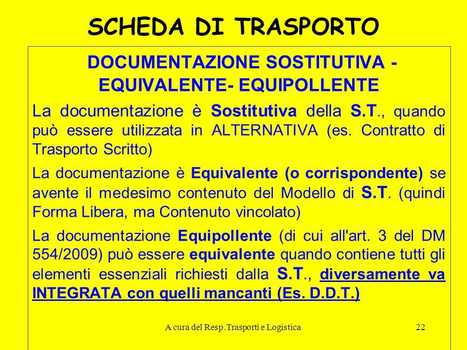 A cura del Resp.Trasporti e Logistica22 SCHEDA DI TRASPORTO DOCUMENTAZIONE SOSTITUTIVA - EQUIVALENTE- EQUIPOLLENTE La documentazione è Sostitutiva del
