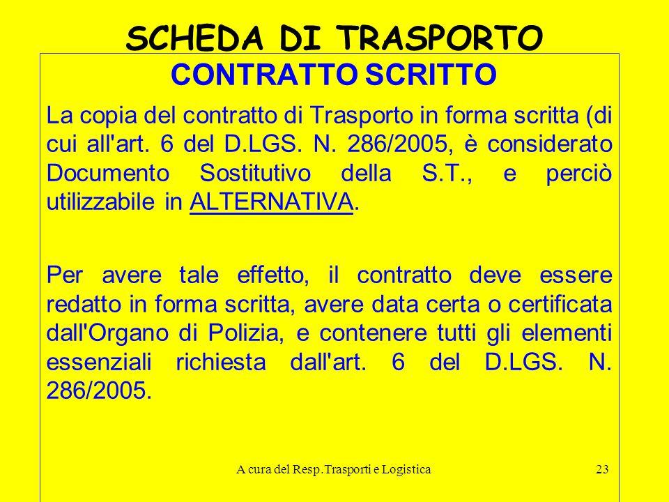 A cura del Resp.Trasporti e Logistica23 SCHEDA DI TRASPORTO CONTRATTO SCRITTO La copia del contratto di Trasporto in forma scritta (di cui all'art. 6