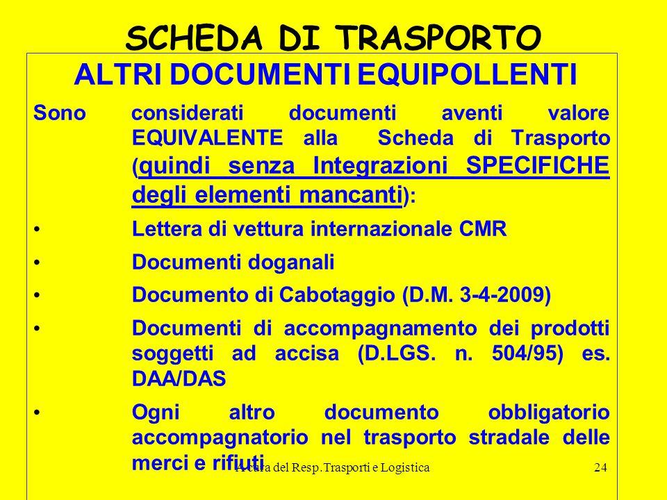 A cura del Resp.Trasporti e Logistica24 SCHEDA DI TRASPORTO ALTRI DOCUMENTI EQUIPOLLENTI Sono considerati documenti aventi valore EQUIVALENTE alla Sch