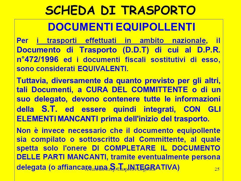 A cura del Resp.Trasporti e Logistica25 SCHEDA DI TRASPORTO DOCUMENTI EQUIPOLLENTI Per i trasporti effettuati in ambito nazionale, il Documento di Tra