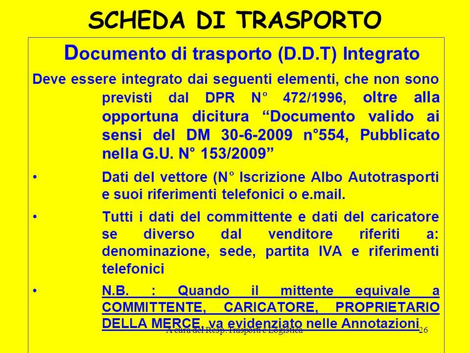 A cura del Resp.Trasporti e Logistica26 SCHEDA DI TRASPORTO D ocumento di trasporto (D.D.T) Integrato Deve essere integrato dai seguenti elementi, che