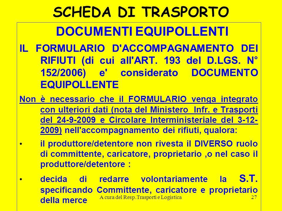 A cura del Resp.Trasporti e Logistica27 SCHEDA DI TRASPORTO DOCUMENTI EQUIPOLLENTI IL FORMULARIO D'ACCOMPAGNAMENTO DEI RIFIUTI (di cui all'ART. 193 de